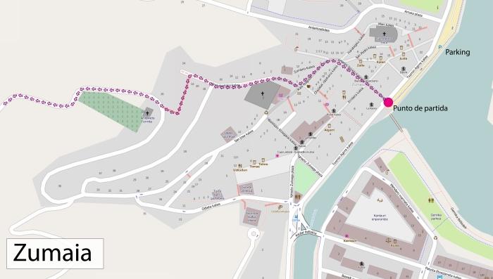 Detalle del comienzo de la ruta en Zumaia
