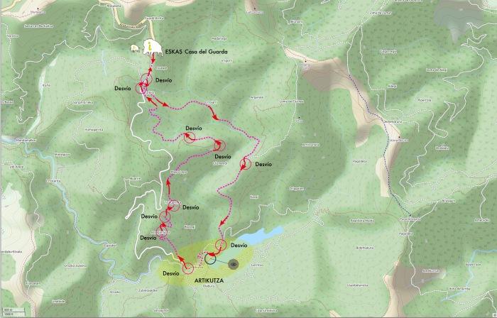 Artikutza mapa ruta