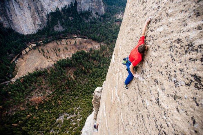 Tommy Caldwell free climbing El Capitan's Dawn Wall